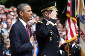 United States President Barack Obama stands with U.S. Army General Michael Linnington, commander of the Military District of Washington, before laying a wreath at the Tomb of the Unknowns during Memorial Day activities at Arlington National Cemetery in Washington on Monday, May 27, 2013. .Credit: Joshua Roberts / Pool via CNP