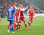 01.12.2018, Stadion an der Wuhlheide, Berlin, GER, 2.FBL, 1.FC UNION BERLIN  VS.SV Darmstadt 98, <br /> DFL  regulations prohibit any use of photographs as image sequences and/or quasi-video<br /> im Bild 1:0 durch Sebastian Andersson (1.FC Union Berlin #10), Grischa Proemel (1.FC Union Berlin #21)<br /> Johannes Wurz (Darmstadt #9)<br /> <br />      <br /> Foto &copy; nordphoto / Engler