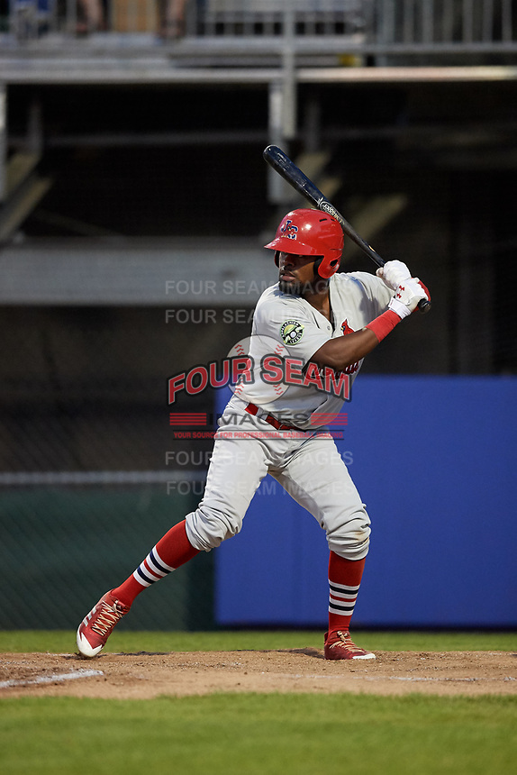 Johnson City Cardinals third baseman Luis Flores (16) at bat during the second game of a doubleheader against the Princeton Rays on August 17, 2018 at Hunnicutt Field in Princeton, Virginia.  Princeton defeated Johnson City 12-1.  (Mike Janes/Four Seam Images)