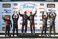 2017 IMSA Continental Tire SportsCar Challenge<br /> Visit Sebring 120<br /> Sebring International Raceway, Sebring, FL USA<br /> Friday 17 March 2017<br /> 44, Nissan, Altima, ST, Sarah Cattaneo, Owen Trinkler, 17, Porsche, Porsche Cayman, ST, Spencer Pumpelly, Nick Galante, 56, Porsche, Porsche Cayman, ST, Jeff Mosing, Eric Foss, podium<br /> World Copyright: MIchael L. Levitt<br /> LAT Images<br /> ref: Digital Image levitt_seb_0317-15492