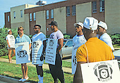 Washington Redskins players walk the picket line outside Redskins Park in Herndon, Virginia on September 22, 1987, the first day of the NFL players strike.<br /> Credit: Howard L. Sachs / CNP