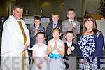 The children from Tiernaboul NS who received their First Holy Communion in the Church of the Ressurection on Saturday with Fr Kieran O'Brien and teacher Katie Murphy. Front row l-r: Aoibhinn Claffey, Deimante Donelate, Danny Coffey. Back row: Aidan Cronin, Emmet Spillane and David O'Sullivan