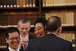 Australia's Prime Minister Tony Abbott shares a joke with Japan's Prime Minister Shinzo Abe and Italy's Prime Minister Matteo Renzi in the Reading Room at Parliament House during the G20 Leaders' Summit in Brisbane. <br /> Photograph by Steve Christo/G20 Australia