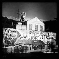 Bergarbeiterstreik in Spanien.<br />Mine in La Felguera in der Provinz Asturien.<br />2.7.2012, La Felguera/Spanien<br />Copyright: Christian-Ditsch.de<br />[Inhaltsveraendernde Manipulation des Fotos nur nach ausdruecklicher Genehmigung des Fotografen. Vereinbarungen ueber Abtretung von Persoenlichkeitsrechten/Model Release der abgebildeten Person/Personen liegen nicht vor. NO MODEL RELEASE! Don't publish without copyright Christian-Ditsch.de, Veroeffentlichung nur mit Fotografennennung, sowie gegen Honorar, MwSt. und Beleg. Konto:, I N G - D i B a, IBAN DE58500105175400192269, BIC INGDDEFFXXX, Kontakt: post@christian-ditsch.de.<br />Urhebervermerk wird gemaess Paragraph 13 UHG verlangt.]