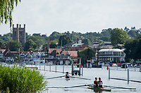Henley. Berks, United Kingdom. <br /> <br /> Two, Double Sculls, return to the boating area after their heat at 2017 Henley' Women's Regatta. Rowing on, Henley Reach. River Thames. <br /> <br /> <br /> Saturday  17/06/2017<br /> <br /> <br /> [Mandatory Credit Peter SPURRIER/Intersport Images]