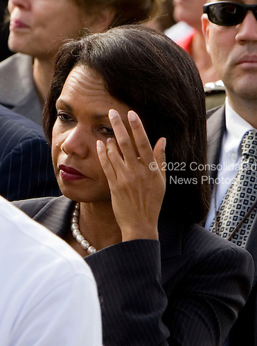 Condoleezza Rice, U.S. Secretary of State, wipes her eye during the dedication of the September 11th Memorial at the Pentagon on the 7th anniversary of the September 11, 2001 attacks on New York and Washington in Washington, DC, Thursday, September 11, 2008.  <br /> Credit: Joshua Roberts / Pool via CNP