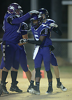 NWA Democrat-Gazette/ANDY SHUPE<br /> Elkins receiver Chad Graham is congratulated after scoring a touchdown by offensive lineman Dalton Stewart against Fordyce Friday, Nov. 10, 2017, during the first half of play at John Bunch Jr. Memorial Field in Elkins. Visit nwadg.com/photos to see more photographs from the game.