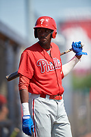 Philadelphia Phillies Carlos De La Cruz (53) during a Minor League Spring Training game against the New York Yankees on March 23, 2019 at the New York Yankees Minor League Complex in Tampa, Florida.  (Mike Janes/Four Seam Images)