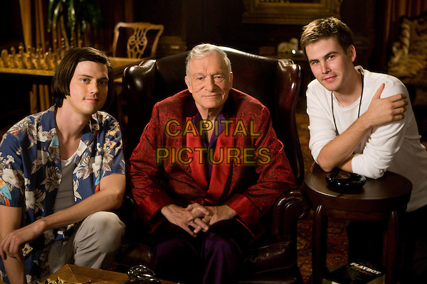 TREVOR MOORE (DIRECTOR), HUGH HEFNER & ZACH CREGGER (DIRECTOR).on the set of Miss March.*Filmstill - Editorial Use Only*.CAP/FB.Supplied by Capital Pictures.