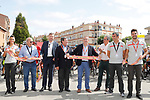 Cutting the ribbon before the start of Stage 17 of the 2017 La Vuelta, running 180.5km from Villadiego to Los Machucos. Monumento Vaca Pasiega, Spain. 6th September 2017.<br /> Picture: Unipublic/&copy;photogomezsport | Cyclefile<br /> <br /> <br /> All photos usage must carry mandatory copyright credit (&copy; Cyclefile | Unipublic/&copy;photogomezsport)
