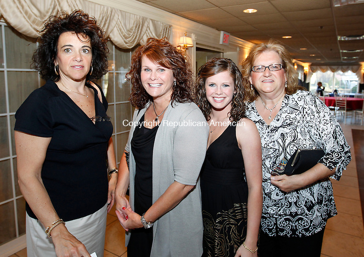 Southington, CT-12, April 2010-041210CM12 SOCIAL MOMENTS: (L-R) Lori McDonald, Wolcott; Debbie and Taryn Vigeant, Terryville; and Sue Vaccarelli at the Aqua Turf in Southington for the Waterbury Sportsmen Club Banquet.   --Christopher Massa Republican-American