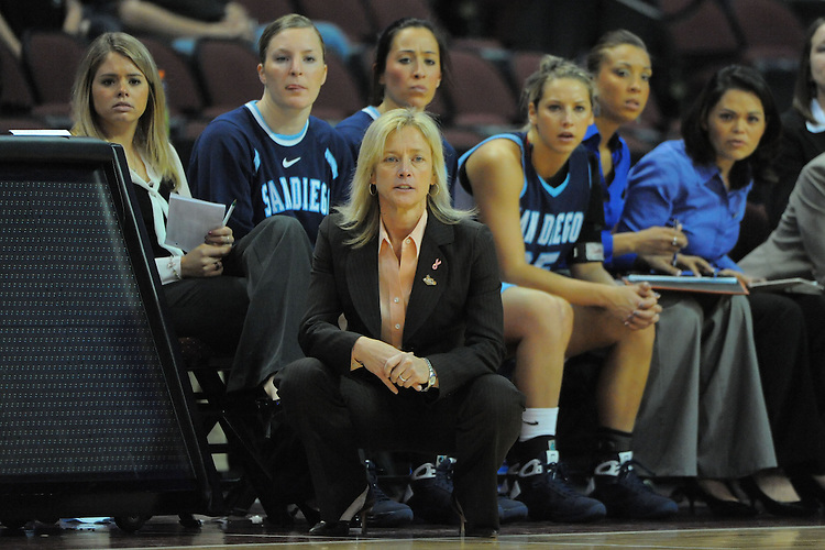 LAS VEGAS, NV - MARCH 7:  Cindy Fisher from the USD Toreros during USD's 76-69 win over the Pepperdine Waves in the WCC Basketball Championships at the Orleans Arena on March 7, 2009 in Las Vegas, Nevada.