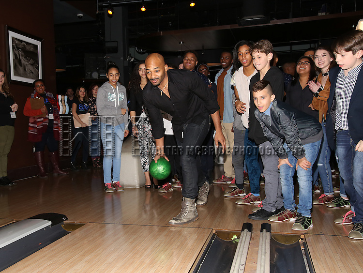 Brandon Victor Dixon with (SAY) kids attend the 5th Annual Paul Rudd All-Star Bowling Benefit for (SAY) at Lucky Strike Lanes on February 13, 2017 in New York City.