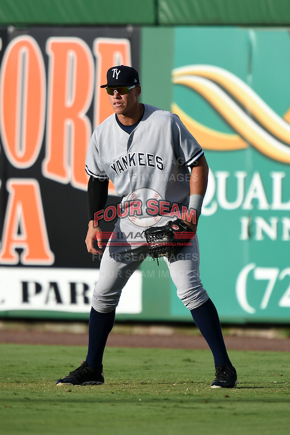 Tampa Yankees outfielder Aaron Judge (59) during a game against the Clearwater Threshers on June 26, 2014 at Bright House Field in Clearwater, Florida.  Clearwater defeated Tampa 4-3.  (Mike Janes/Four Seam Images)