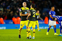 11th January 2020; King Power Stadium, Leicester, Midlands, England; English Premier League Football, Leicester City versus Southampton; Oriol Romeu and Cedric Soares of Southampton celebrate their win after the final whistle - Strictly Editorial Use Only. No use with unauthorized audio, video, data, fixture lists, club/league logos or 'live' services. Online in-match use limited to 120 images, no video emulation. No use in betting, games or single club/league/player publications