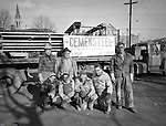 Pittsburgh PA: View of workers from the Cemensteel Company preparing to work on the new Homewood Elementary School.<br />