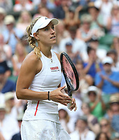 Angelique Kerber (GER) during her match against Tatjana Maria (GER) in their Ladies' Singles First Round match<br /> <br /> Photographer Rob Newell/CameraSport<br /> <br /> Wimbledon Lawn Tennis Championships - Day 2 - Tuesday 2nd July 2019 -  All England Lawn Tennis and Croquet Club - Wimbledon - London - England<br /> <br /> World Copyright © 2019 CameraSport. All rights reserved. 43 Linden Ave. Countesthorpe. Leicester. England. LE8 5PG - Tel: +44 (0) 116 277 4147 - admin@camerasport.com - www.camerasport.com