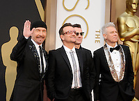 HOLLYWOOD, CA - MARCH 2: The Edge, Bono, Larry Mullen Jr. , Adam Clayton  arriving to the 2014 Oscars at the Hollywood and Highland Center in Hollywood, California. March 2, 2014. Credit: SP1/Starlitepics. /NORTePHOTO