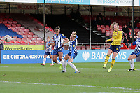 Jill Roord of Arsenal scores the second goal for her team during Brighton & Hove Albion Women vs Arsenal Women, Barclays FA Women's Super League Football at Broadfield Stadium on 12th January 2020