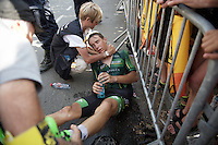 Bryan Coquard (FRA/Europcar) went unconscious for a little while after finishing and needed assistance. Racing in the 36&deg;C heat all day taking it's toll...<br /> <br /> stage 13: Muret - Rodez<br /> 2015 Tour de France