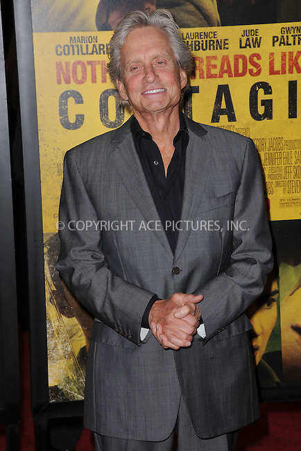 WWW.ACEPIXS.COM . . . . . .September 7, 2011...New York City...Michael Douglas attends the 'Contagion' premiere at the Rose Theater, Jazz at Lincoln Center on September 7, 2011 in New York City. ....Please byline: KRISTIN CALLAHAN - ACEPIXS.COM.. . . . . . ..Ace Pictures, Inc: ..tel: (212) 243 8787 or (646) 769 0430..e-mail: info@acepixs.com..web: http://www.acepixs.com .
