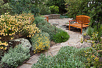 Curving stone path through drought tolerant perennial border leading into small space backyard patio with and seating in California native plant garden