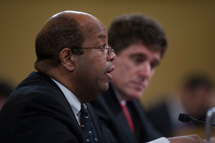 UNITED STATES - May 17:  Treasury Inspector General for Tax Administration, J. Russell George and Former Acting Commissioner of the Internal Revenue Service Steve Miller testify during a hearing before the House Ways and Means Committee May 17, 2013 on Capitol Hill in Washington, DC. The committee held a hearing to examine the IRS scandal of targeting conservative groups. (Photo By Douglas Graham/CQ Roll Call)