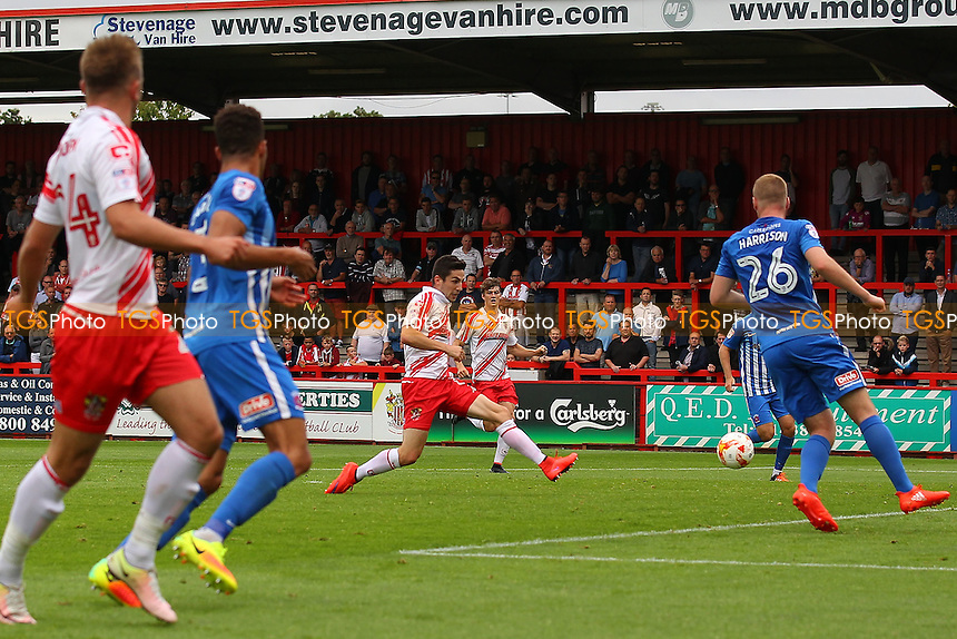 Tom Pett of Stevenage scores the first goal for his team during Stevenage vs Hartlepool United, Sky Bet EFL League 2 Football at the Lamex Stadium on 3rd September 2016