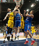 10.02.2018, EWE Arena, Oldenburg, GER, BBL, EWE Baskets Oldenburg vs Rockets Erfurt, im Bild<br /> unter dem Korb...<br /> Marko BACAK (EWE Baskets Oldenburg #13)Karsten TADDA (EWE Baskets Oldenburg #9)<br /> Johannes RICHTER (Rockets Erfurt #8 ),Filip STANIC (Rockets Erfurt #65 )<br /> Foto &copy; nordphoto / Rojahn