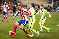 Atletico de Madrid´s Fernando Torres and Barcelona´s Javier Mascherano and Jordi Alba during 2014-15 Spanish King Cup match between Atletico de Madrid and Barcelona at Vicente Calderon stadium in Madrid, Spain. January 28, 2015. (ALTERPHOTOS/Luis Fernandez) /nortephoto.com<br />