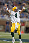 Quarterback Brett Favre #4 of the Green Bay Packers celebrates during the game during an NFL football game against the Detroit Lions at Ford Field on September 24, 2006 in Detroit, Michigan. The Packers beat the Lions 31-24. (Photo by David Stluka)