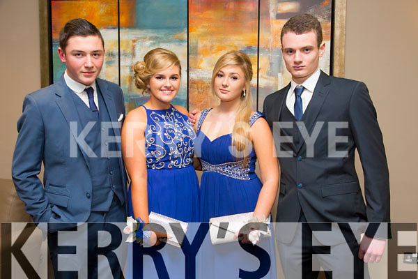 Adam Buckley, Clodagh Culloty, Syliva Emmett Ronan McGee at the CBS The Green Students' Debs Ball at the Ballyroe Heights Hotel on Saturday night