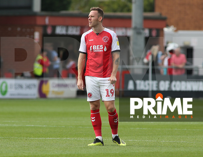 Gethin Jones during the Sky Bet League 1 match between Fleetwood Town and Rochdale at Highbury Stadium, Fleetwood, England on 18 August 2018. Photo by Stephen Gaunt / PRiME Media Images.