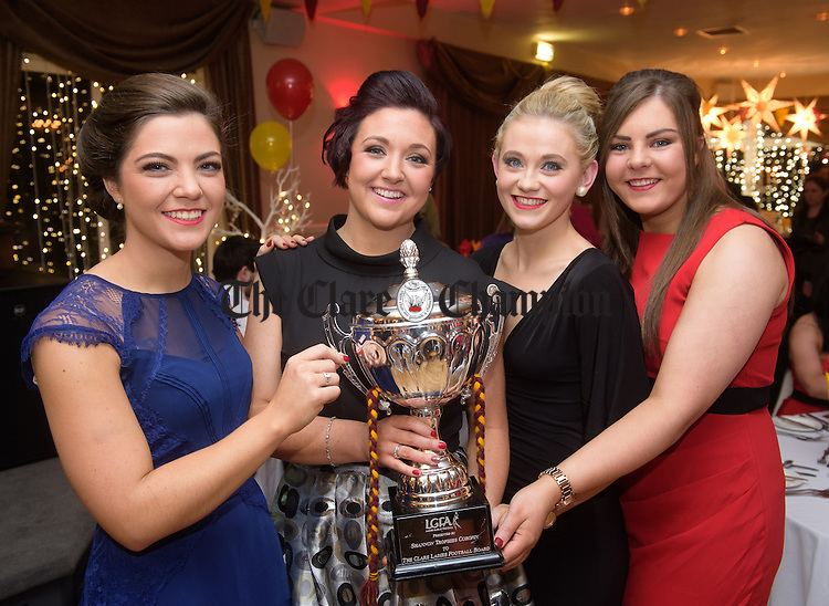 Niamh Coyne, Michelle Mc Caw, Orlath Flanagan and Ciara Burke at the St Joseph's GAA victory celebrations in the Armada Hotel for their Senior mens and Ladies football teams. Photograph by John Kelly.