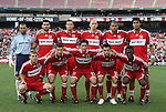 13 June 2009: Chicago's starters pose for a team photo. Front row (l to r): Chris Rolfe, Logan Pause, John Thorrington, Marco Pappa, Patrick Nyarko. Back row (l to r): Jon Busch, Gonzalo Segares, Brian McBride, Tim Ward, C.J. Brown, Wilman Conde. DC United defeated the Chicago Fire 2-1 at RFK Stadium in Washington, DC in a regular season Major League Soccer game.