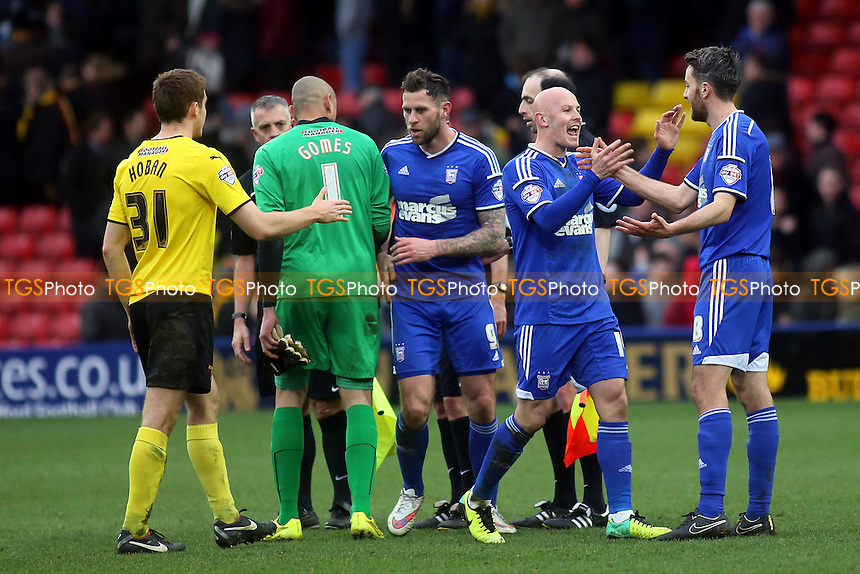 Richard Chaplow, scorer of Ipswich town's late goal celebrates with Cole Skuse (No 8) at the final whistle - Watford vs Ipswich Town - Sky Bet Championship Football at Vicarage Road Stadium, Watford, Hertfordshire - 21/03/15 - MANDATORY CREDIT: Paul Dennis/TGSPHOTO - Self billing applies where appropriate - contact@tgsphoto.co.uk - NO UNPAID USE