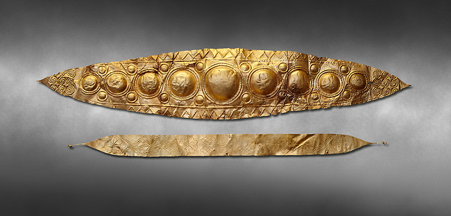 Mycenaean Gold diadems from Grave IV, Grave Circle A, Myenae, Greece. National Archaeological Museum Athens. 16th Cent BC. Grey art Background <br /> <br /> Top: Mycenaean Gold diadem with repousse circles and rosettes Cat No 232<br /> <br /> Bottom: Elegant Mycenaean gold daidem with fastening loops and dotted decoration. Three diamond shaped pendant hung from chains. Cat no 236.