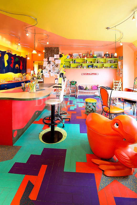 funky colored kitchen