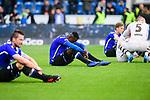 04.11.2018, Sch&uuml;coArena / Schueco Arena, Bielefeld, Deutschland, GER, 2. FBL, DSC Arminia Bielefeld vs. FC St. Pauli<br /> <br /> DFL REGULATIONS PROHIBIT ANY USE OF PHOTOGRAPHS AS IMAGE SEQUENCES AND/OR QUASI-VIDEO.<br /> <br /> im Bild Prince Osei Owusu (#17 Bielefeld) entt&auml;uscht / enttaeuscht / traurig nach Niederlage<br /> <br /> Foto &copy; nordphoto / Kurth