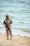 MARINE WITH RIFLE ON BEACH