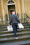 Delivery of the Sunday Times to the Green Room at Christ Church during the Sunday Times Oxford Literary Festival, UK, 24 March - 1 April 2012. ..PHOTO COPYRIGHT GRAHAM HARRISON .graham@grahamharrison.com.+44 (0) 7974 357 117.Moral rights asserted.