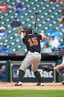 Chase Cryer (15) of the Sam Houston State Bearkats at bat against the Kentucky Wildcats during game four of the 2018 Shriners Hospitals for Children College Classic at Minute Maid Park on March 3, 2018 in Houston, Texas. The Wildcats defeated the Bearkats 7-2.  (Brian Westerholt/Four Seam Images)