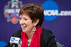 March 30, 2018; Head Coach Muffet McGraw speaks at the press conference following the Women's Basketball Final Four semifinal game. Notre Dame defeated UConn 91-89 in overtime. (Photo by Matt Cashore/University of Notre Dame)