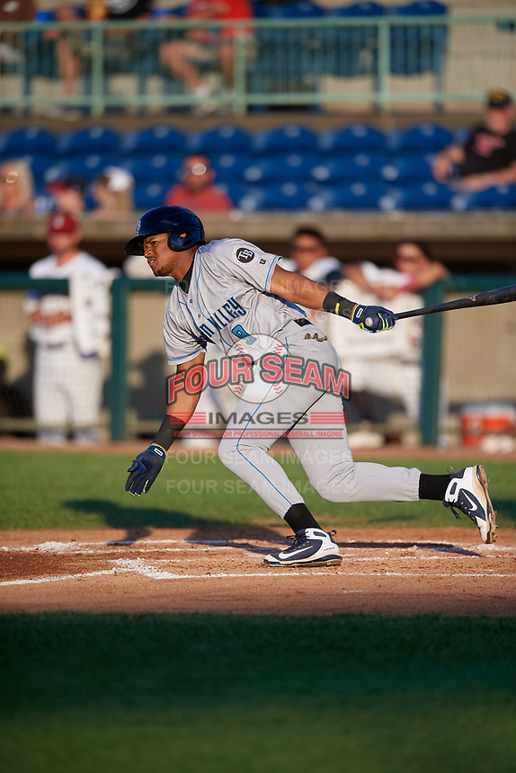 Hudson Valley Renegades Pedro Diaz (9) bats during a NY-Penn League game against the Mahoning Valley Scrappers on July 15, 2019 at Eastwood Field in Niles, Ohio.  Mahoning Valley defeated Hudson Valley 6-5.  (Mike Janes/Four Seam Images)