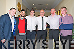 Tadgh Kennelly  pictured with Darrah O'Shea, Paul Galvin, David Moran, Kieran Donahey & Tommy Walsh in the  Listowel Arms Hotel on Saturday last.