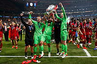 Alisson Becker of Liverpool, Caoimhin Kelleher of Liverpool and Simon Mignolet of Liverpool celebrate after the UEFA Champions League Final match between Tottenham Hotspur and Liverpool at Wanda Metropolitano on June 1st 2019 in Madrid, Spain. (Photo by Daniel Chesterton/phcimages.com)<br /> Foto Daniel Chesterton PHC/ Insidefoto <br /> ITALY ONLY