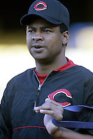 Jose Rijo of the Cincinnati Reds before a 2002 MLB season game against the Los Angeles Dodgers at Dodger Stadium, in Los Angeles, California. (Larry Goren/Four Seam Images)