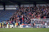 The fans celebrate the winner scored by Mark Hughes of Accrington Stanley during the Sky Bet League 2 match between Wycombe Wanderers and Accrington Stanley at Adams Park, High Wycombe, England on the 30th April 2016. Photo by Liam McAvoy / PRiME Media Images.