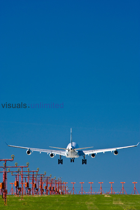 A 340 jet landing at Vancouver International Airport, British Columbia, Canada.