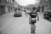 Fabian Cancellara (CHE/TrekFactoryRacing) stretching at the back of the peloton halfway through the race<br /> <br /> Ronde van Vlaanderen 2014